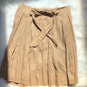 EUC khaki colored 100% Flax pleated skirt